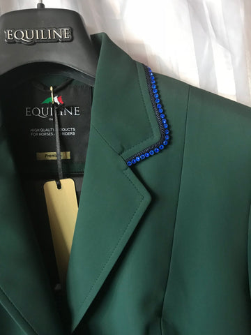 Equiline Bottle Green Gait Jacket with Blue Crystals
