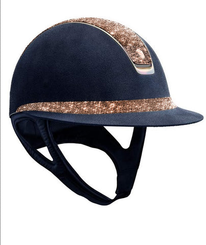 Miss Shield Premium Alcantara Rose Gold Crystal Fabric and Blason Helmet