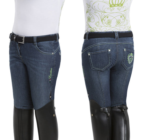 Equiline Magda Girls Denim Half Grip size 14/15 Breeches SS16