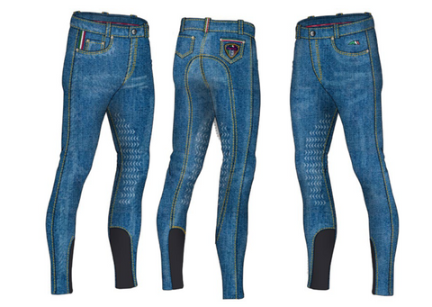 Equiline Aric Boys Half Grip Denim Breeches SS16