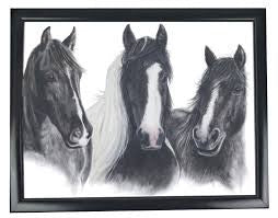 Grey's Horse Black & White Lap Tray