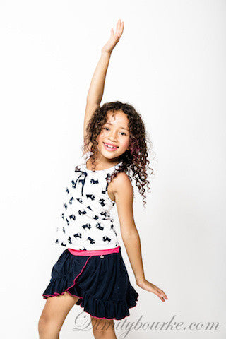 Girls fun relaxed designer cotton jersey skirt in navy with hot pink trims
