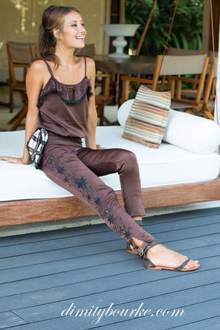 Embroidered Bardot pant in luxuriously soft rich brown silk satin.