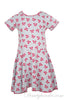 Girls short sleeve designer cotton jersey swing dress in silver grey with hot pink bow print