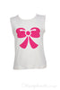 Girls designer white tee shirt in soft 100% cotton jersey with hot pink bow design