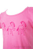 Girls soft cotton jersey sleeveless designer singlet dress in light pink with three horse design and frills at shoulders