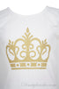 Girls soft cotton jersey designer tee shirt in white with gold crown print design