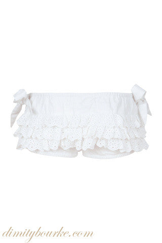 Girls bloomer in soft 100% Indian cotton with frills and lace trims