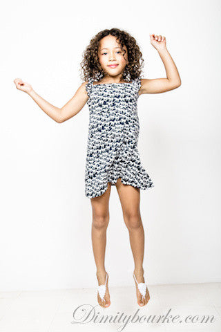 Girls designer cotton jersey singlet dress in white with navy horses print and frills at the shoulders