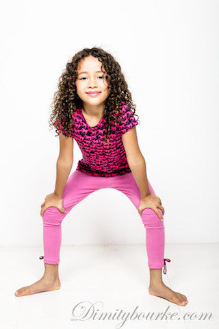 Girls cool stretch jersey spandex leggings in light pink with bows at cuffs