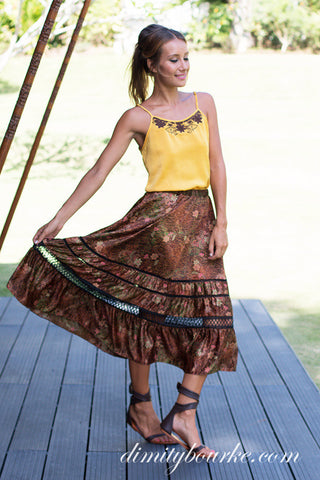 Flowing Gypset skirt in luxuriously soft silk satin Indian Spice print.