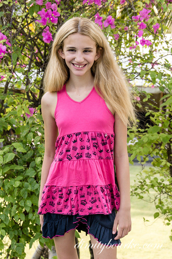 Girls playful designer cotton jersey racer back smock top with navy crowns on hot pink