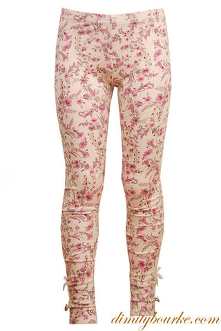 Girls designer leggings in stretch cotton jersey spandex in pink bougie signature print with button and bow details at cuff