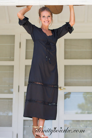 Le Chateau maxi dress in luxuriously soft black silk satin.