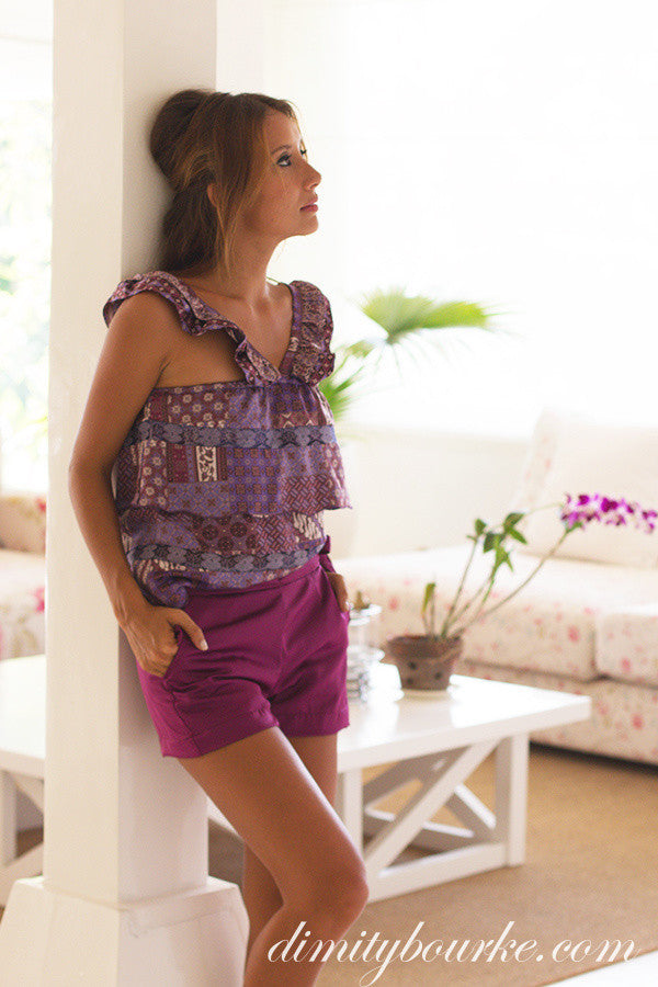 Riviera layered top in Fields of Lavender