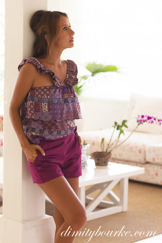 Chic Coco shorts in luxuriously soft purple silk satin.