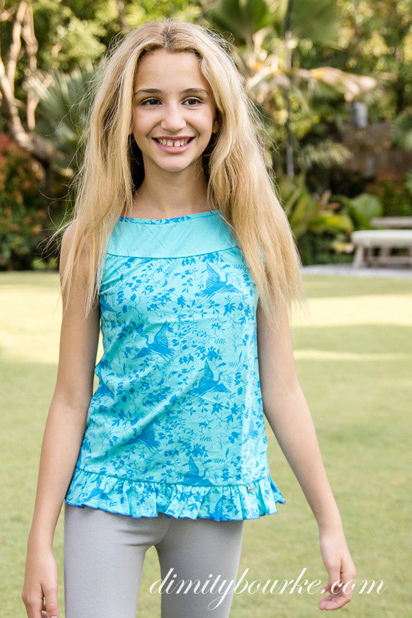 turquoise top with blue bird print