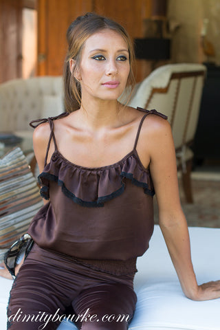 Valbonne frill top in luxuriously soft rich brown silk satin.