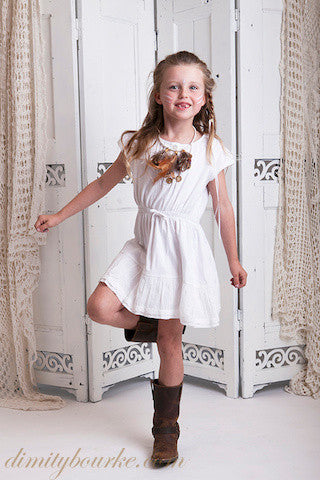 Easy to wear everyday 100% cotton jersey girls designer dress with pin tucks at the front and cotton lace trim at the hem