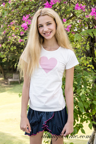 Designer girls white tee shirt in soft 100% cotton jersey with exclusive pink love heart design