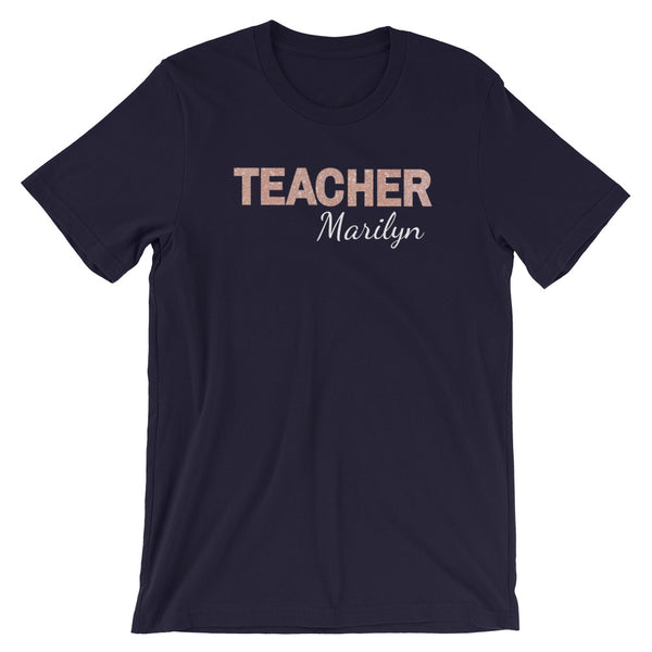 Rose Gold Faux Glitter Teacher T-Shirt