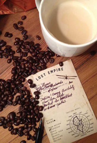 Lost Empire Coffee Company provides free coffee flavor note, coffee tasting cards with every purchase.