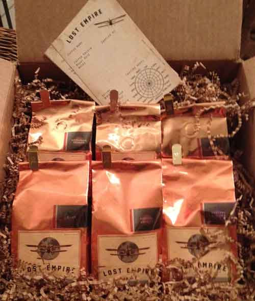 Coffee Adventure Box  Fresh roasted coffee to order through our online coffee store.  6 Different Fresh Roasted Coffees.   Certified Organic & Fair Trade Coffees.  6 individual packages of 8 oz each, 48 oz of fresh roasted coffee in total  Fresh Roasted Coffee, whole bean or ground to order  An astonishing variety of amazing coffees in one sampler pack.           Expedition Espresso Organic & Fair Trade ( Medium Roast for espresso drinks & brewing)         Hidden City Organic & Fair Trade Peruvian Coffee         High Flyer Organic Sumatra Mandheling         Inspirado Organic & Fair Trade Cafe' Fonseca         Tango Romeo Hue Hue Tenango Organic & Fair Trade Guatemalan         Sunset Amore' Organic& Fair Trade Blend  The Coffee Sampler Adventure Box also makes a great gift for the coffee lovers in your life.  Lost Empire Coffee Company brings you the most exotic coffees and unique blends you have ever tasted.  We fresh roast our adventure brews and get them to you fast and fresh by foot, bicycle, train, balloon, truck or air. The closest thing to airdropping a wooden crate of fresh roasted coffees onto your lawn. Lost Empire Coffee is... Adventure. In a cup.