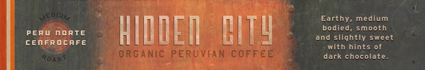 Hidden City Organic Peruvian Coffee Certified Organic & Fair Trade, Fresh Roasted Coffee   Roast: Medium   Origin: Cenfrocafe Region, Peru Cenfrocafe stands for Central Fronteriza del Norte de Cafetaleros and spans the lush provinces of Jaen and San Ignacio in Peru near the Machu Pichu region.   Elevation: 1324 meters above sea level (4344 ft)   Coordinates: 13.1631° S, 72.5456° W  12 oz bag, whole bean or ground to order  Tasting Notes: Our Peru Norte Cenfrocafe Peruvian Coffee and is an earthy medium bodied, smooth and slightly sweet with hints of dark chocolate, nutmeg and cinnamon. Moderate to bright acidity and delightful flavors and aromatic qualities. The taste of our fine Peruvian coffee is smooth and delicate, and very well-balanced with nutty and chocolaty tones and a sweet citrus taste in both the flavor and aroma as well as a pleasant finish. The taste is soft and sweet.  Lost Empire Coffee Company brings you the most exotic coffees and unique blends you have ever tasted.  We fresh roast our adventure brews and get them to you fast and fresh by foot, bicycle, train, balloon, truck or air. The closest thing to airdropping a wooden crate of fresh roasted coffees onto your lawn. Lost Empire Coffee is... Adventure. In a cup.