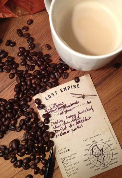 All Lost Empire Coffees come with our cool coffee flavor notes card. Coffee tasting card.