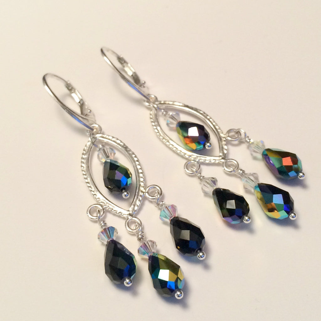 Swarovski Jet Chandelier Earrings