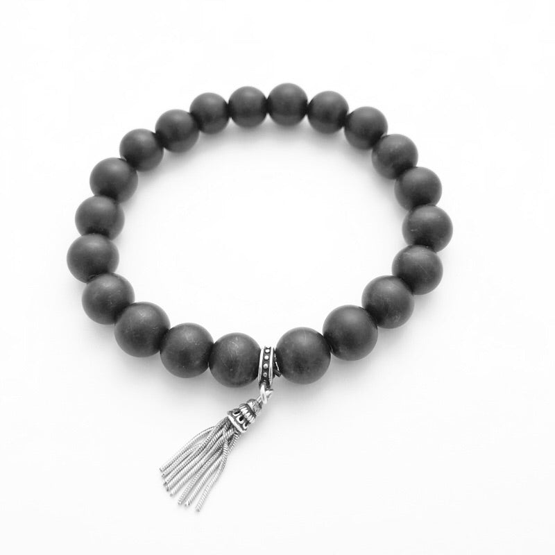 Frosted Black Obsidian Ancient Stones Meditation Bracelet
