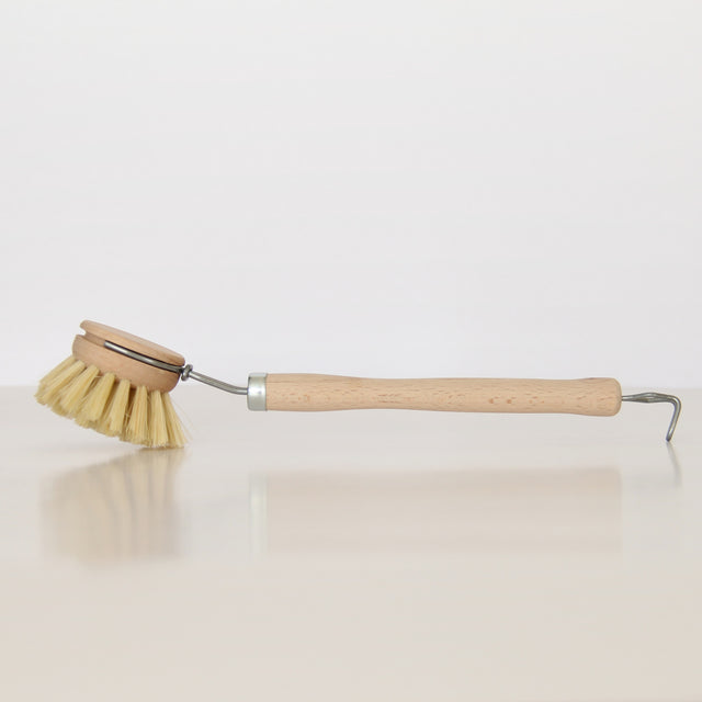 DISHWASHING BRUSH AND REPLACEMENT BRUSH HEAD - NATURAL FIBRE BRISTLES