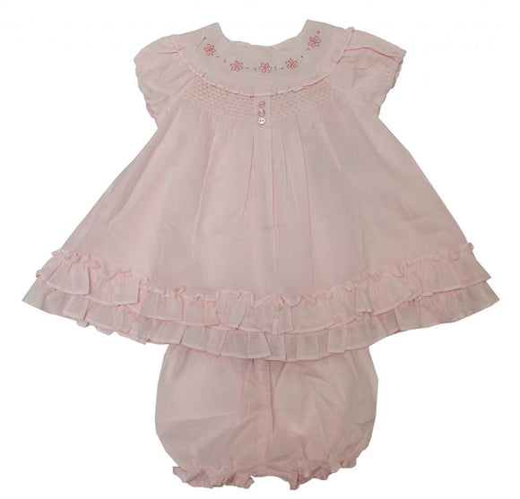 Baby girls pink flower smocked dress