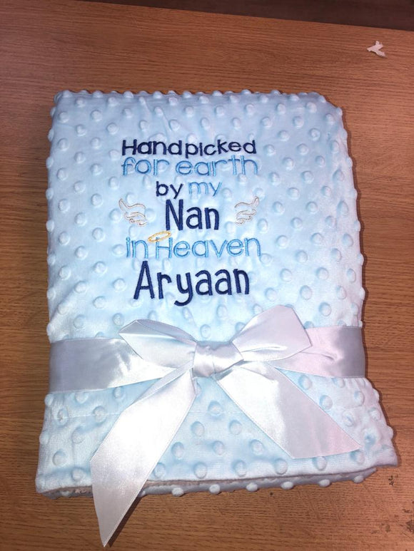 Personalised hand picked by........ blue bobble blanket