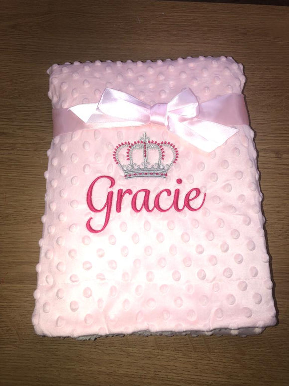 Personalised pink royal bobble blanket