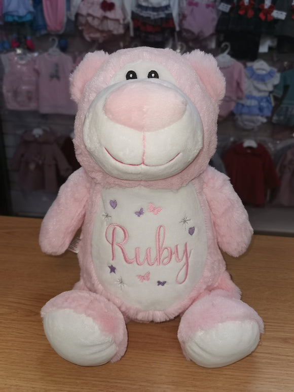 Personalised pink cubbyford bear