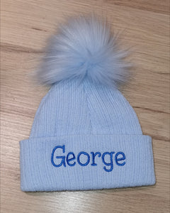 Personalised blue pom pom hat 0-6mth