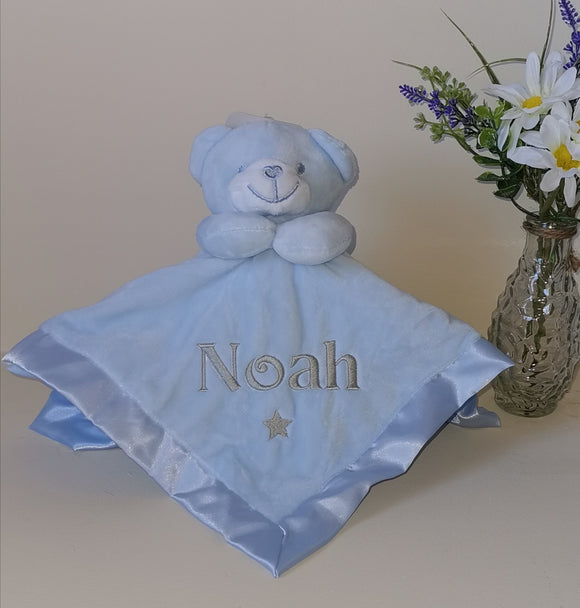 Personalised blue teddy comforter