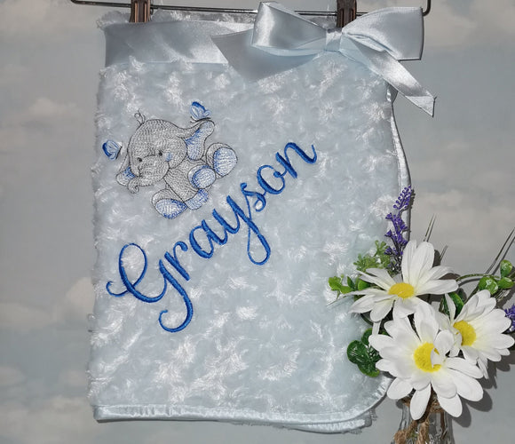 Personalised rose fur blanket with our Ellie design