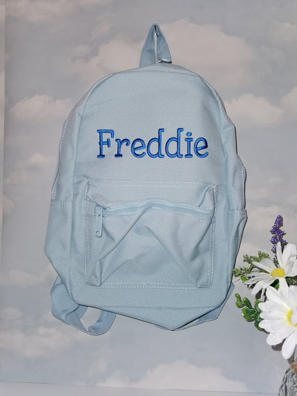 Personalised blue toddler backpack