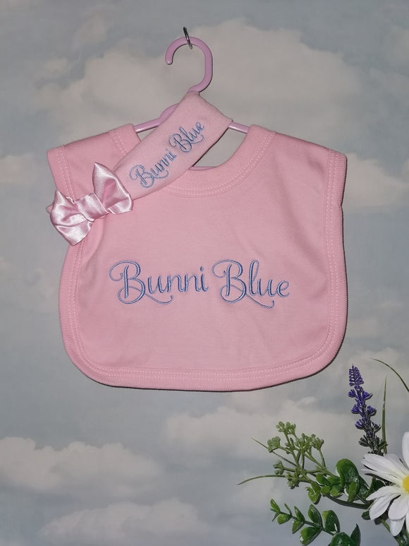 Personalised Pink bib & heaband set