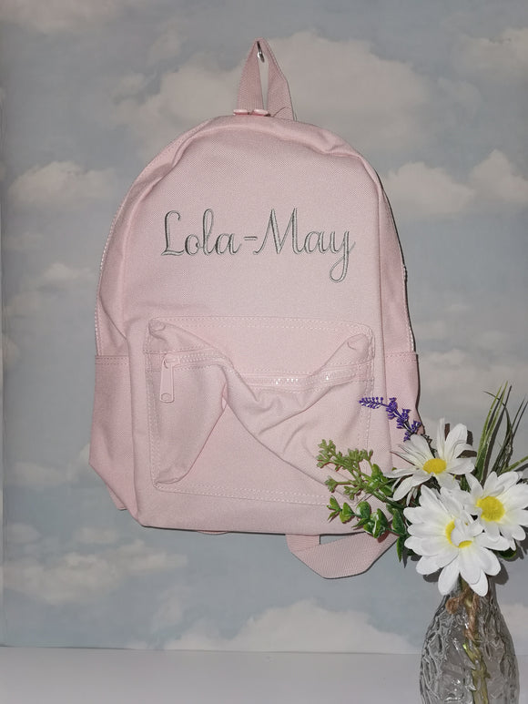 Personalised pink childrens backpack