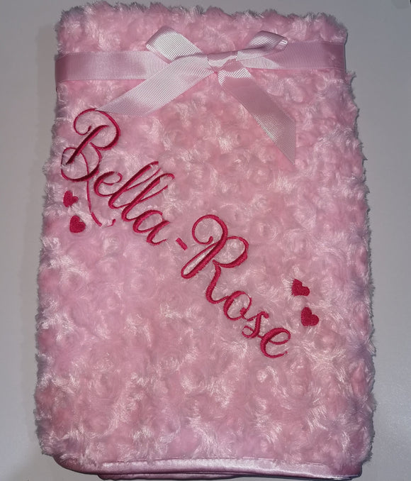 Personalised pink rose fur blanket