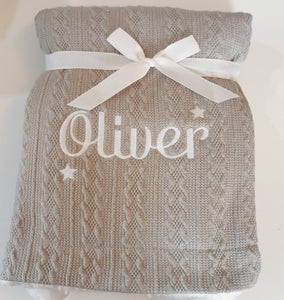 Personalised grey cable knit blanket