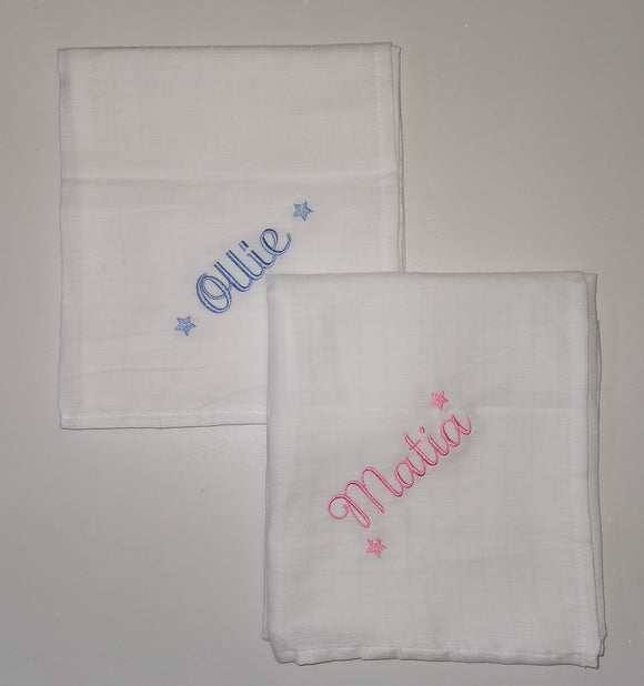 Personalised white muslin square