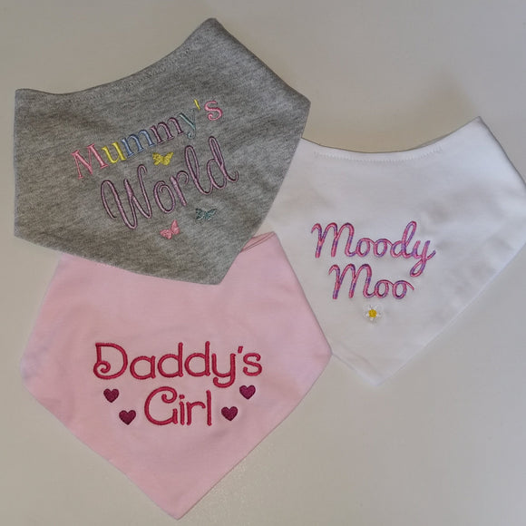 Personalised Girls bandana bibs x3