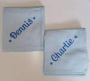Personalised blue muslin sqaures