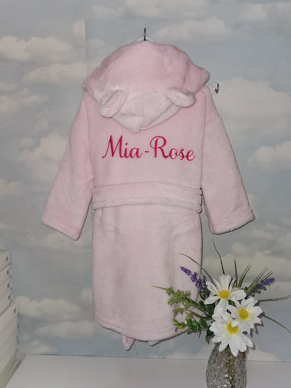 Personalised Super Soft Pink Hooded Dressing Gown