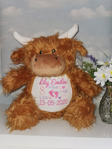 Personalised Highland Cow teddy