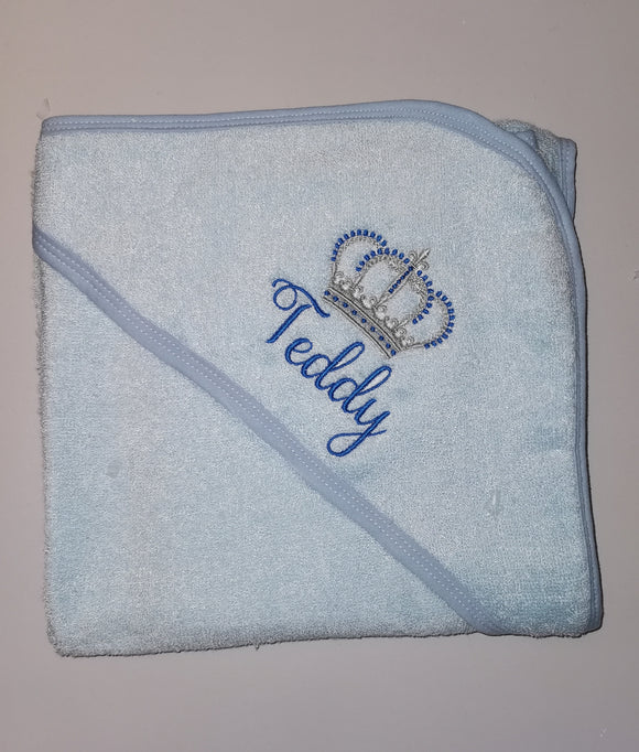 Baby boys personalised Royal hooded towel
